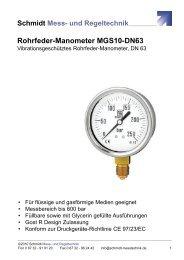 Datenblatt Rohrfeder-Manometer MGS10-DN63 - Schmidt - Mess ...
