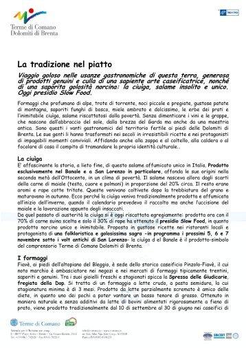 Gastronomia in Trentino - Terme di Comano