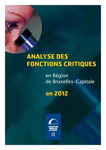 analyse des FOnCTIOns CRITIQUes - Actiris