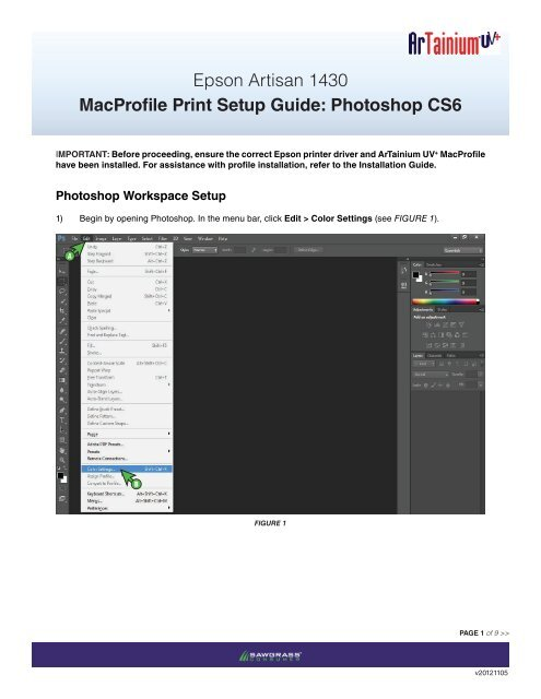 Epson Artisan 1430 MacProfile Print Setup Guide: Photoshop CS6