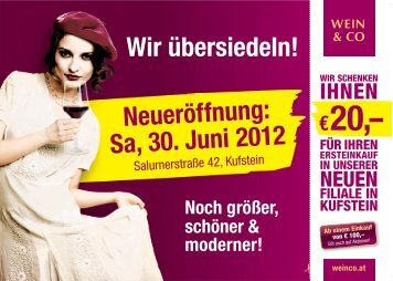Wir übersiedeln! Neueröffnung: Sa, 30. Juni 2012