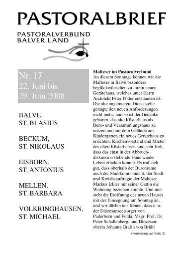 Pastoralbrief 22.06. - 29.06.08 8 S. - Kath. Pfarrei St. Blasius zu Balve