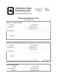 Membership Application Form - Orpington Ojays Swimming Club