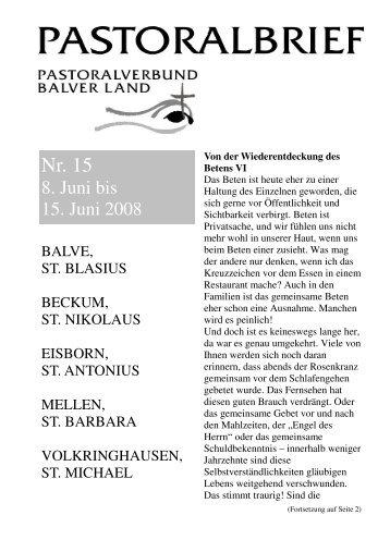 Pastoralbrief 08.06. - 15.06.08 - Kath. Pfarrei St. Blasius zu Balve
