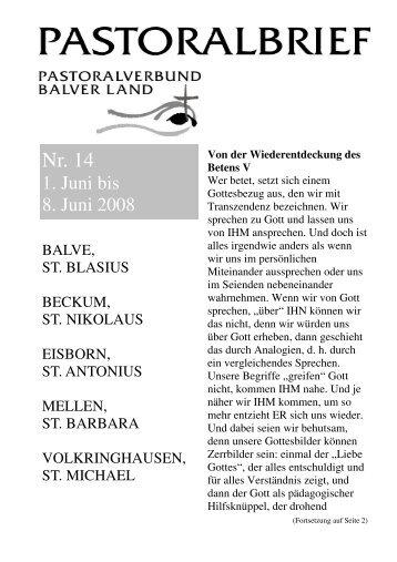 Pastoralbrief 01.06. - 08.06.08 - Kath. Pfarrei St. Blasius zu Balve