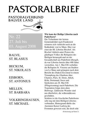 Pastoralbrief 27.07. - 03.08.08 - Kath. Pfarrei St. Blasius zu Balve