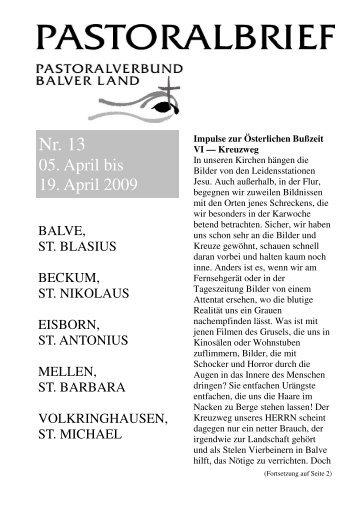 Pastoralbrief 05.04. - 19.04.09 - Kath. Pfarrei St. Blasius zu Balve
