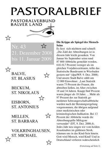 Pastoralbrief 21.12.08 - 11.01.09 - Kath. Pfarrei St. Blasius zu Balve