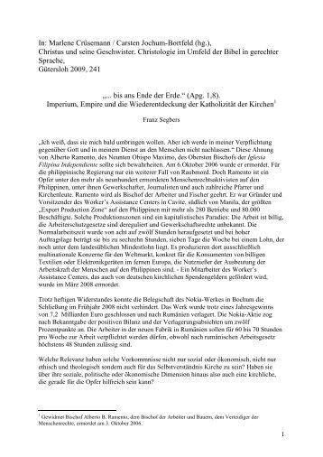 """""""... bis ans Ende der Erde (Apg 18,1)."""" Imperium, Globalisierung und ..."""
