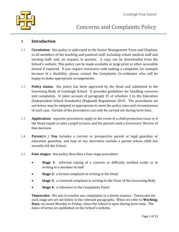 Concerns and Complaints Policy - Cranleigh Preparatory School