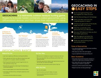 GEOCACHING is a real-world, outdoor treasure hunting game ...
