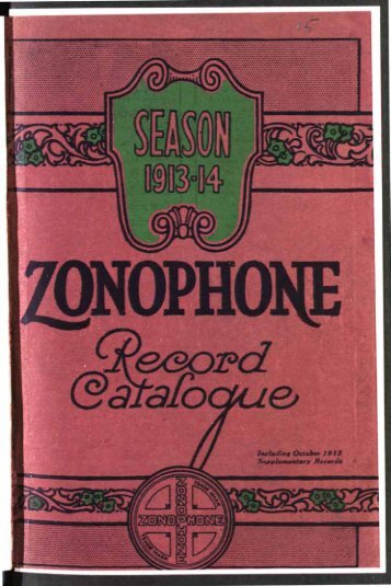 Zonophone Record Catalogue 1913-14 - British Library - Sounds