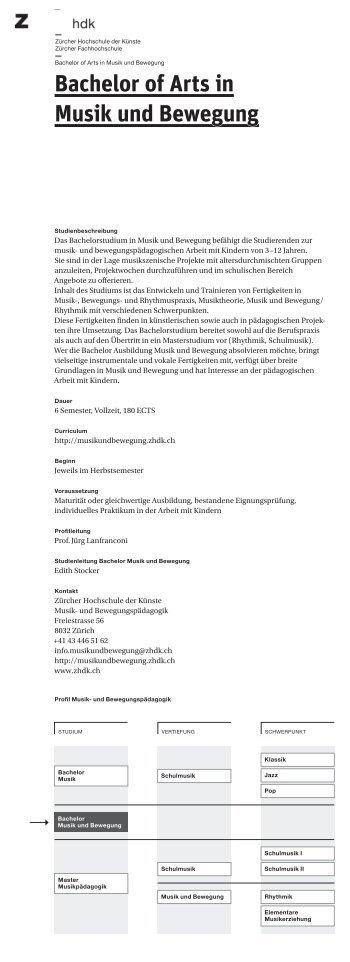Bachelor of Arts in Musik und Bewegung - Zürcher Hochschule der ...