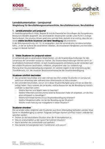 Lerndokumentation - Lernjournal - OdA Gesundheit Bern