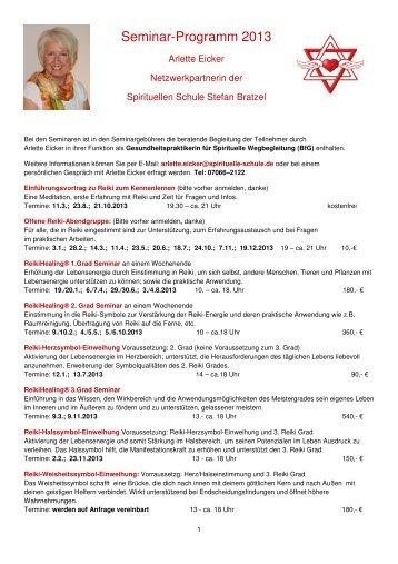 Arlette Programm 2013x - Die Spirituelle Schule Stefan Bratzel