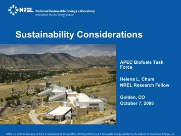 Sustainablility Considerations - APEC Biofuels