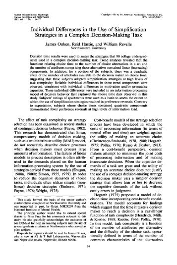 Individual Differences in the Use of Simplification Strategies in a ...