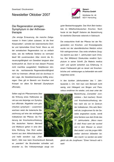 Symphytum in der Arthrosetherapie - Steierl-Pharma GmbH