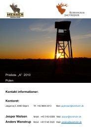 """Prisliste """"A"""" 2010 Polen Kontakt informationer - Korsholm Jagtrejser"""