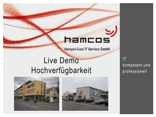 Live Demo Hochverfügbarkeit - Hampel-CoSi IT Service GmbH