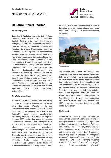 60 Jahre Steierl-Pharma GmbH