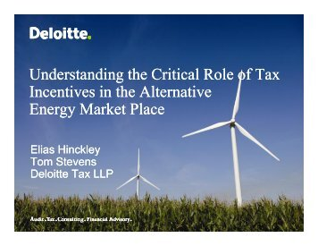 Understanding the Critical Role of Tax Incentives in the ... - Deloitte