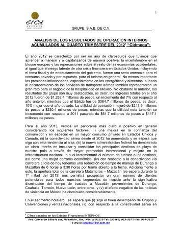 ANALISIS DE LOS RESULTADOS DE OPERACIÓN INTERNOS ...