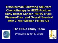 The value of adjuvant Herceptin after chemotherapy: HERA ... - IBCSG