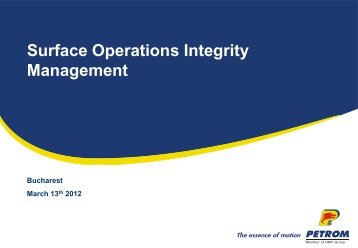 Surface Operations Integrity Management - Petroleumclub.ro