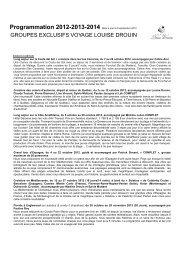 PROGRAMMATION 2012 à 2014 - révisée le 8 septembre 2012
