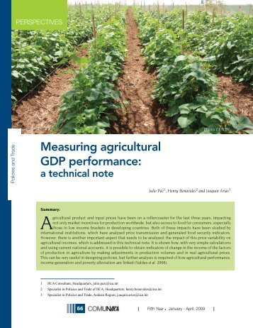 Measuring agricultural GDP performance: