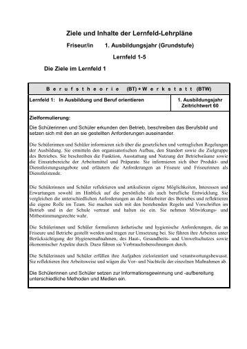 Ziele und Inhalte der Lernfeld-Lehrpläne