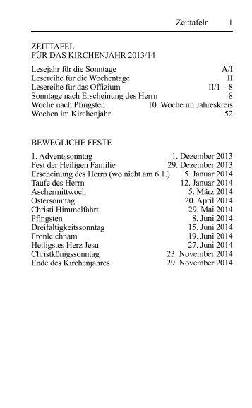 1 Zeittafeln ZEITTAFEL FÜR DAS KIRCHENJAHR ... - directserver.org