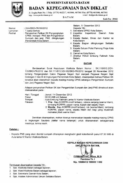 Surat Penyerahan Petikan Sk Pengangkatan Cpns Menjadi Pns