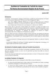 Synthèse de l'évaluation de l'activité du réseau Territoires ...