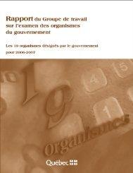 Rapport du Groupe de travail sur l'examen des organismes du ...