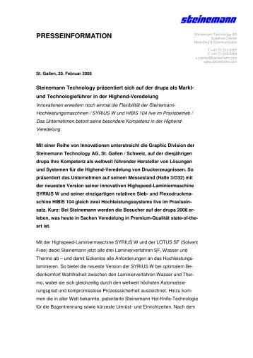 mehr dazu - Steinemann Technology AG