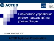 ACTED'S ECO-TOURISM PROGRAMME - UNDP in Tajikistan