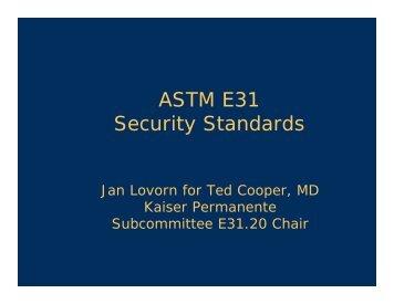 ASTM E31 Security Standards