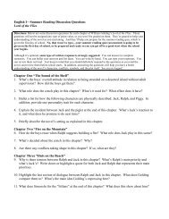 English I—Summer Reading Discussion Questions Lord of the Flies ...