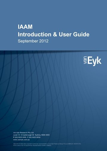 IAAM Introduction & User Guide - van Eyk Conference