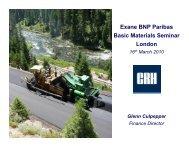 Exane BNP Paribas Basic Materials Seminar London - CRH