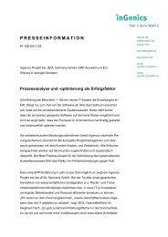 Prozessanalyse und -optimierung als Erfolgsfaktor - Ingenics AG