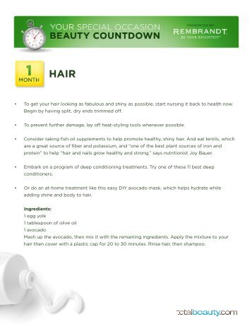 • To get your hair looking as fabulous and shiny as ... - Total Beauty