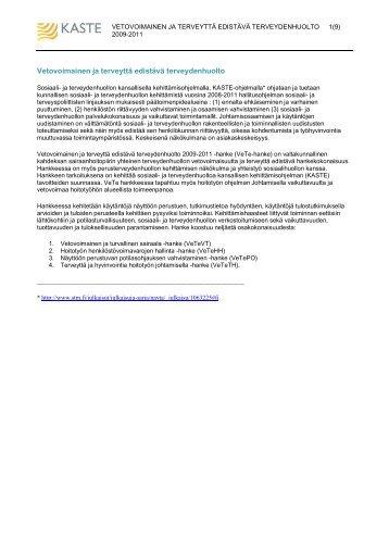 VeTen tietojen tulostusversio - VeTe-hanke