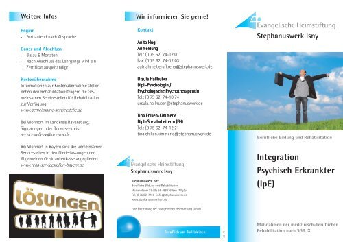 Integration Psychisch Erkrankter (IpE) - Stephanuswerk Isny