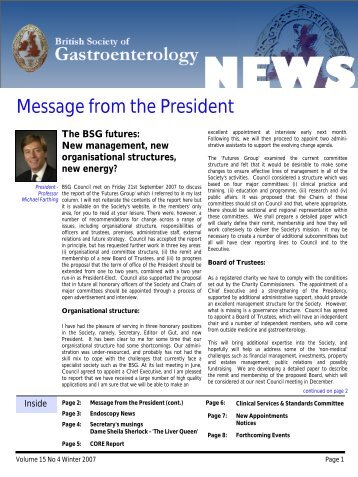 Message from the President - British Society of Gastroenterology