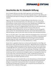 Geschichte der St. Elisabeth-Stiftung - Stephanus-Stiftung