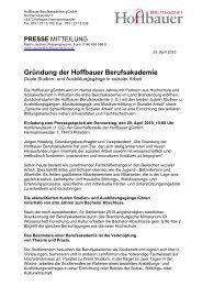 Gründung der Hoffbauer Berufsakademie - Stephanus-Stiftung