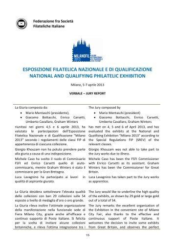 Risultati - Expo FSFI - Federazione fra le Società Filateliche Italiane